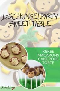 Hier findest du Anleitungen für 4 außergewöhnliche Süßigkeiten für deine Dschungelparty: Dschungelkekse, Affen Cake Pops, Affen Macarons und Bananentorte!  #ribiselchen #dschungelparty #kindergeburtstag