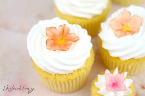 Cupcakes mit Zuckerblüten aus Blütenpaste