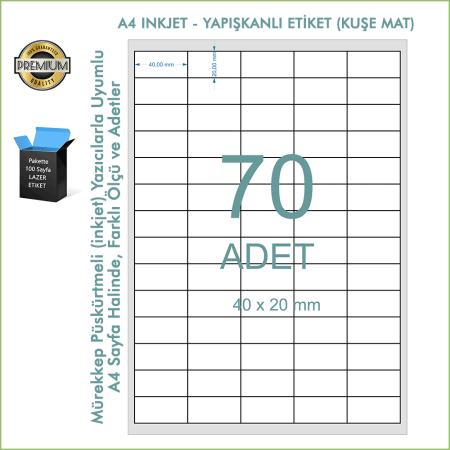 A4 Inkjet Etiket, Mat Kuşe Yapışkanlı Barkod Etiketi