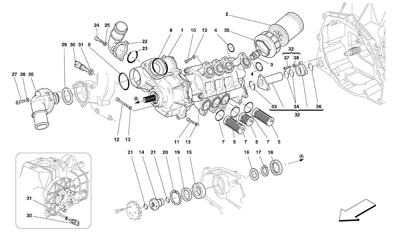 Ferrari F430 05 08 Water Oil Pump