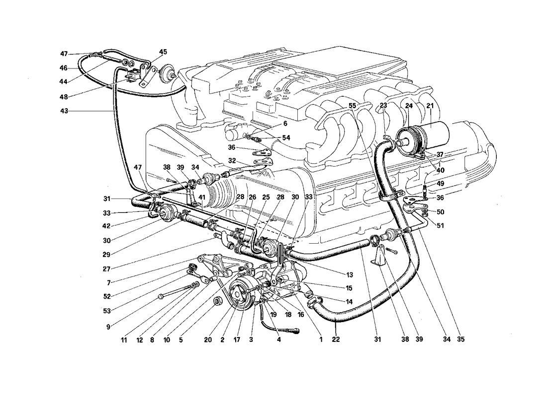 Ferrari Testarossa Secondary Air Pump And Lines