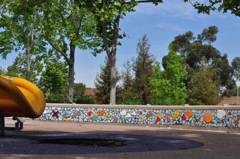 "East Los Angeles Civic Center Playground North, 2005, Handcrafted low relief glazed and broken tile, 16"" x 16"" x 144"""