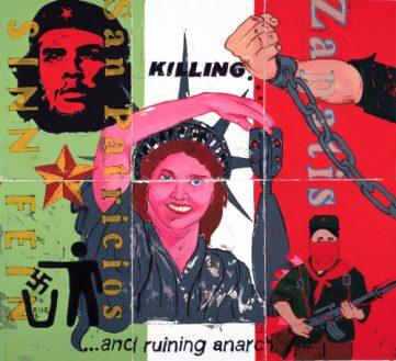 "Ruining Anarchy, 2004, Monotype mural on paper, 66"" X 48"""