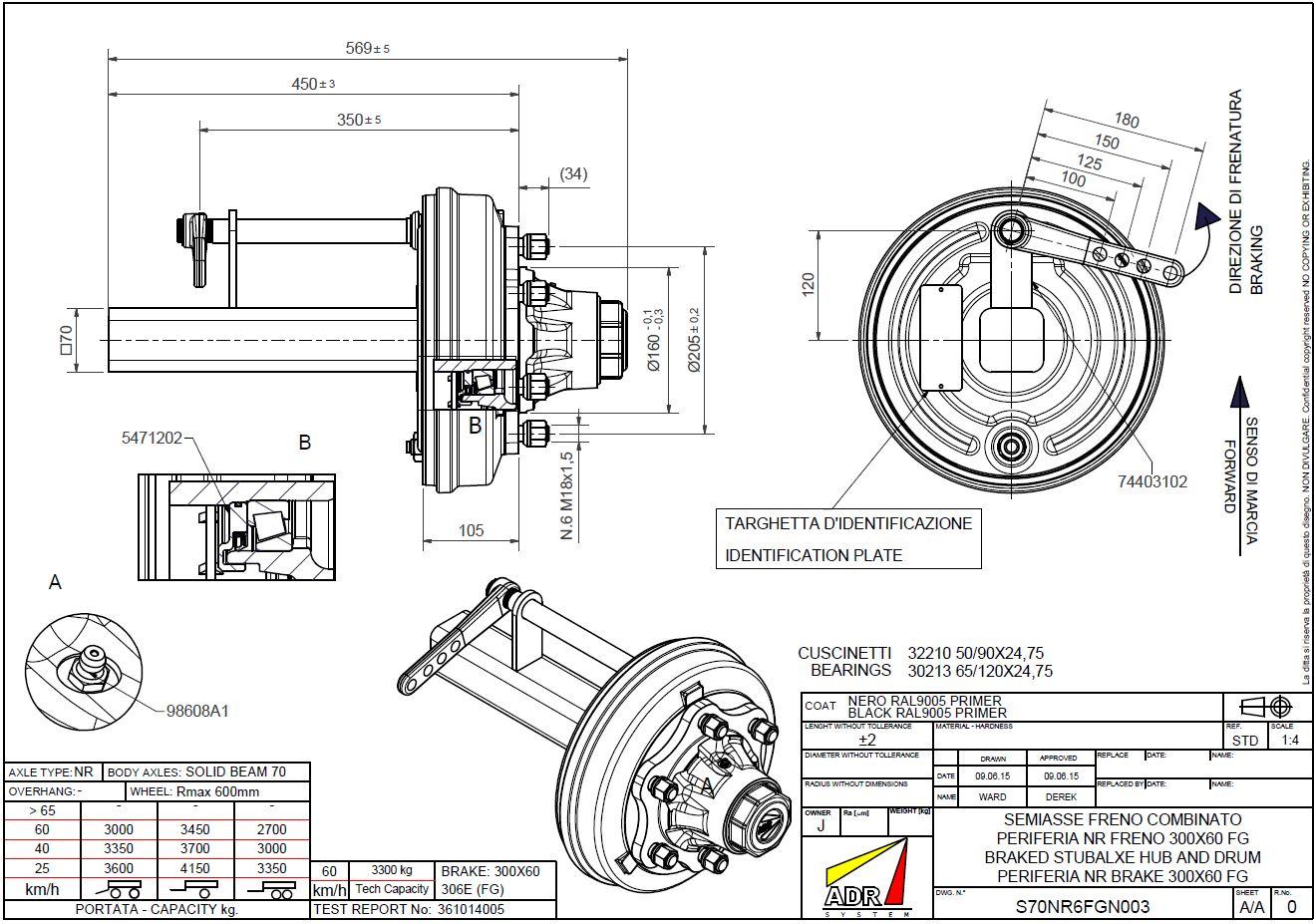 Stub Axle Adr 70sq Braked 6h 300x60