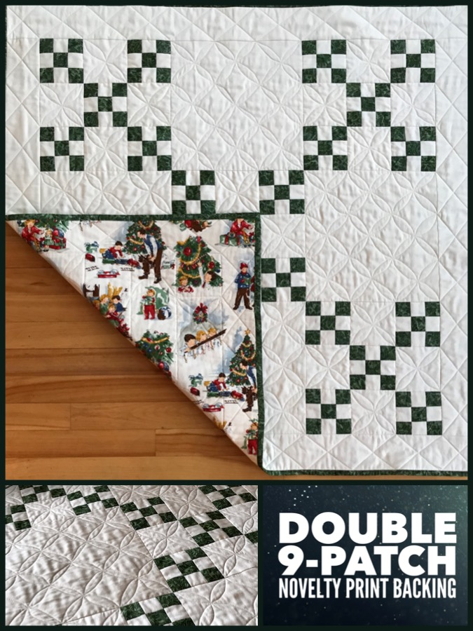 Double Nine Patch Quilt with Novelty Print Backing • Riceford Streams
