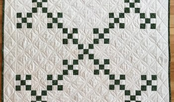 Green and White Double Nine Patch Quilt