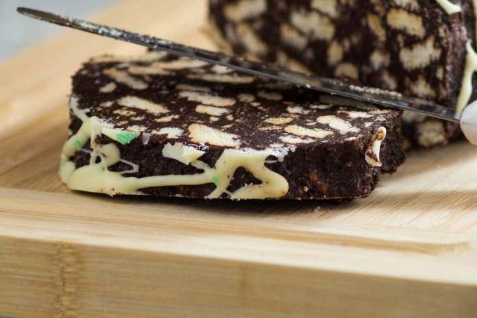Torta Salame di Cioccolato senza uova e cottura