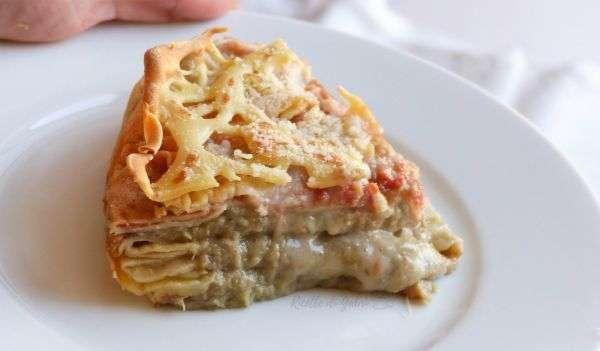torta di crepes salate carciofi pomodoro formaggio
