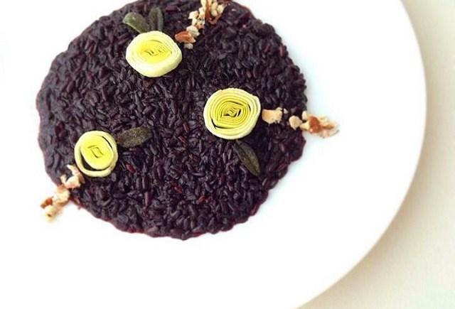 risotto Venere porri nocciole leek black rice