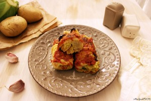 Involtini vegetariani verza e patate Vegetarian stuffed cabbage rolls