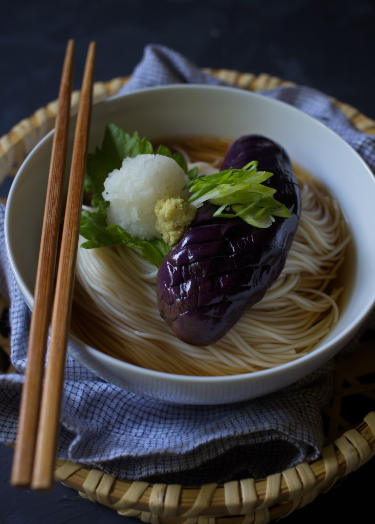 Chilled Somen Noodle with Sesame Eggplant