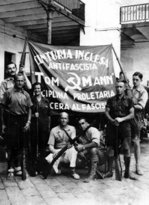 The Tom Mann Centuria in Barcelona, September 1936. David Marshall is standing on the far right.