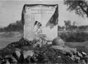 Gravestone erected to the Jarama fallen