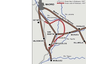 Positions at the end of the battle of Jarama