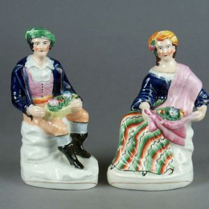ANTIQUE STAFFORDSHIRE FIGURES BYRON & MAID OF ATHENS