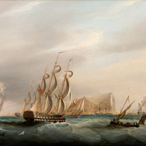 19TH CENTURY ENGLISH SCHOOL-OIL PAINTING-ROYAL NAVY SHIPS