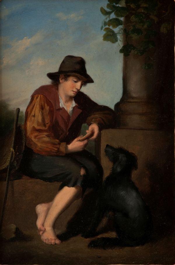 19th CENTURY ITALIAN SCHOOL OIL PAINTING TRAVELLER & DOG
