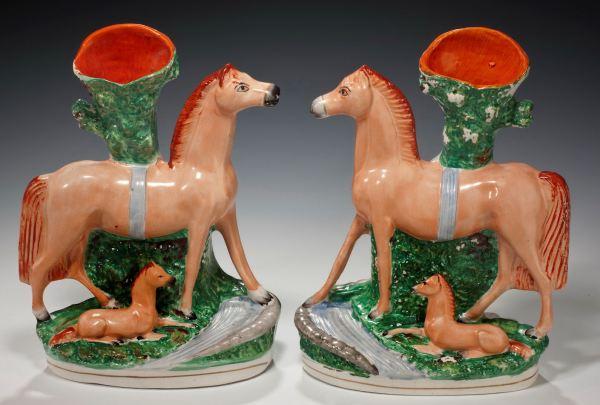 ANTIQUE STAFFORDSHIRE FIGURES OF HORSES & FOALS