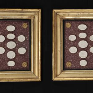 PAIR OF FRAMED COLLECTIONS OF GRAND TOUR PLASTER PLAQUES