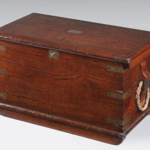 ANTIQUE TEAK NAVAL OFFICERS TRUNK
