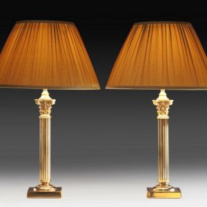 ANTIQUE PAIR OF BRASS & STEEL TABLE LAMPS