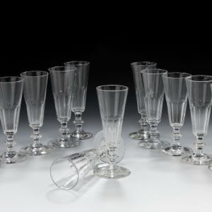 ANTIQUE SET OF 12 FRENCH CHAMPAGNE GLASSES