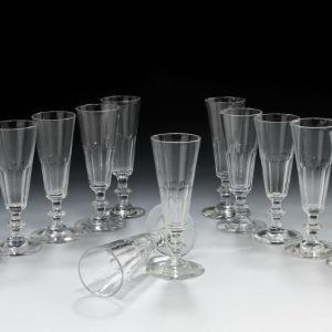 ANTIQUE SET OF 12 GLASS CHAMPAGNE FLUTES