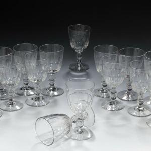ANTIQUE LARGE SET OF LOUIS PHILLIPE GLASS GOBLETS