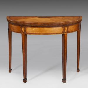 ANTIQUE SATINWOOD DEMI-LUNE CARD TABLE