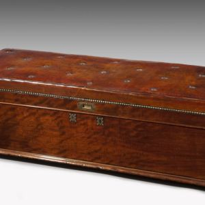 ANTIQUE MAHOAGANY OTTOMAN WITH LEATHER TOP