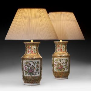 ANTIQUE PAIR OF FAMILLE ROSE VASES AS LAMPS