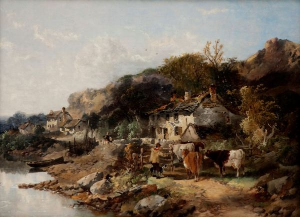 JOSEPH HORLOR-OIL PAINTING-RIVERSIDE FARM