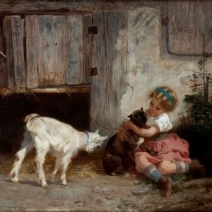ANTON DIEFFENBACH-OIL PAINTING-YOUNG GIRL GOAT & DOG