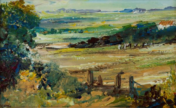 TOM KEATING-OIL PAINTING-SUSSEX LANDSCAPE