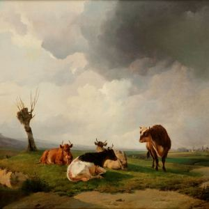 ATTRB TO THOMAS SIDNEY COOPER-OIL PAINTING-CATTLE CANTERBURY