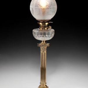 ANTIQUE BRASS CORINTHIAN COLUMN OIL LAMP