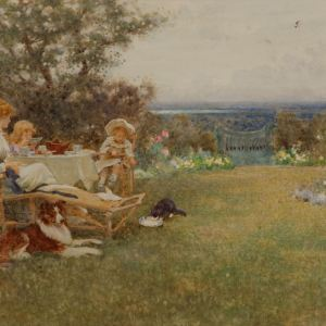 THOMAS JAMES LLOYD-WATERCOLOUR PAINTING-AFTERNOON TEA