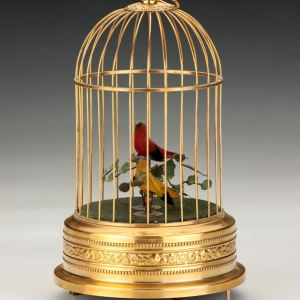 ANTIQUE SINGING BIRDS IN CAGE WITH TWO BIRDS