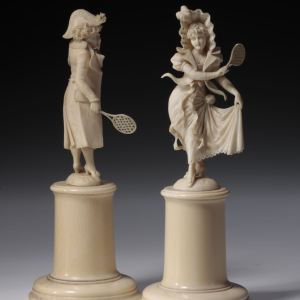ANTIQUE DIEPPE IVORY FIGURES OF TENNIS PLAYERS