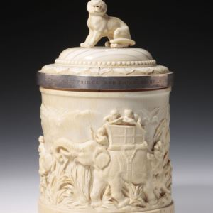 ANTIQUE IVORY CASKET CARVED WITH TIGER HUNT-ROYAL PROVENANCE