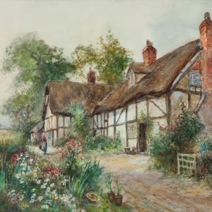 CYRIL WOOD-WATERCOLOUR PAINTING-COTTAGES
