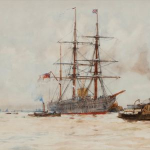 CHARLES DIXON-WATERCOLOUR-PORTSMOUTH HARBOUR