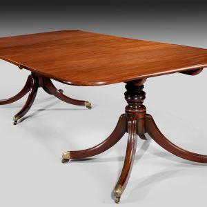 ANTIQUE GEORGE III MAHOGANY TWIN PILLAR DINING TABLE