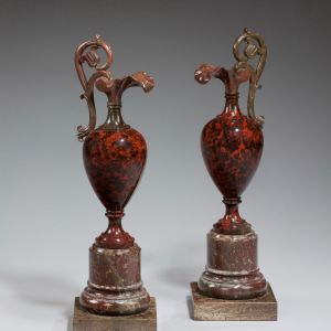 ANTIQUE PAIR OF ROUGE MARBLE VASES