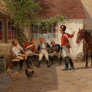 WILLIAM BARNES WOLLEN-OIL PAINTING-SOLDIERS