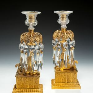 ANTIQUE PAIR OF REGENCY ORMOLU & GLASS CANDLESTICKS