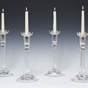 ANTIQUE SET OF FOUR CUT GLASS CANDLESTICKS