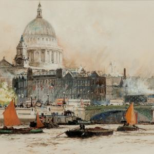 CHARLES DIXON-WATERCOLOUR-RIVER THAMES ST PAULS CATHEDRAL