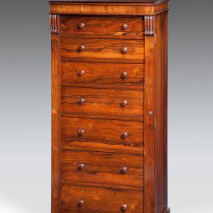 ANTIQUE ROSEWOOD WELLINGTON CHEST OF DRAWERS