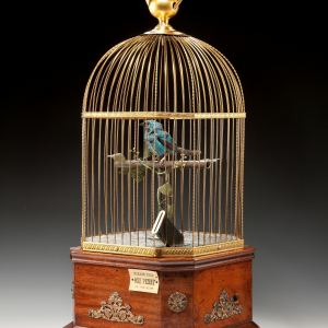 ANTIQUE PENNY IN THE SLOT SINGING BIRD CAGE